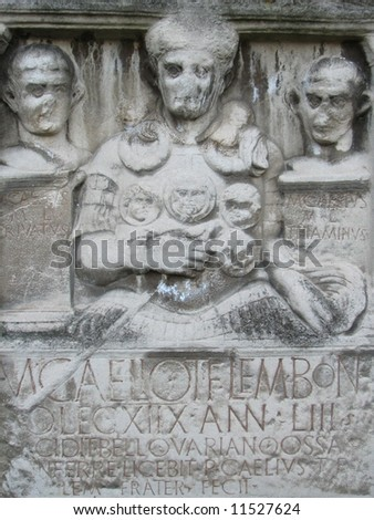 Tombstone of the Roman Centurio Marcus Caelius, he died at the Battle of Teutoburg Forest, year 9 A.D., the German tribes ambushed and destroyed three Roman legions led by Publius Quinctilius Varus - stock photo