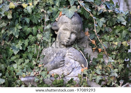 Tombstone on the Prague Jewish Cemetery - stock photo