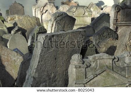 Tombstones at the Jewish Cemetery in Prague, Czech Republic - stock photo