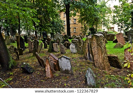 Tombstones at the old Jewish cemetery in Prague (Czech Republic) - stock photo