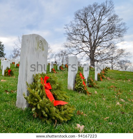Tombstones in Arlington National Cemetery - Washington DC United States - stock photo