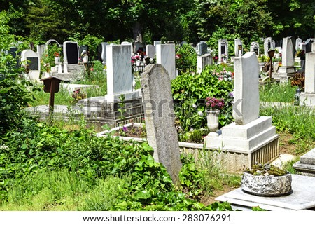 Tombstones in the cemetery