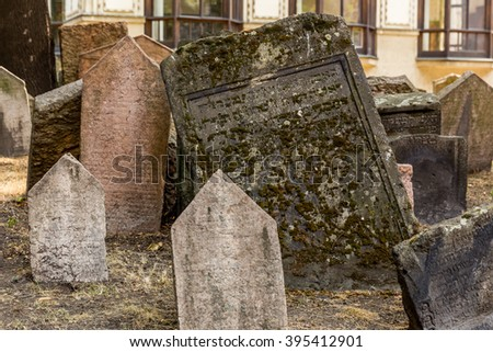 Tombstones in the Old Jewish Cemetery in Prague,Czech Republic - stock photo