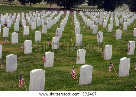 Tombstones with Flags.Memorial Day,Chattanooga National Cemetery