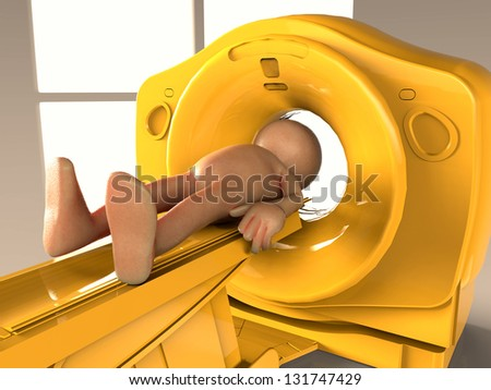 Tomography done on a concept guy - stock photo