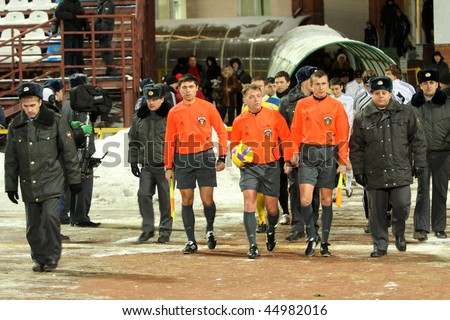 TOMSK, RUSSIA - NOVEMBER 21: Football match Championship of Russia among Tom'(Tomsk) - Rostov (Rostov), November 21, 2009 in Tomsk, Russia. - stock photo