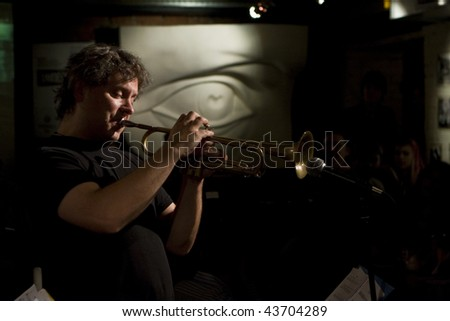 TOMSK, RUSSIA - OCTOBER 2: Musician Alex Sipiagin in jazz club Underground on 1st International Festival of a clubs jazz, October 2, 2008 in Tomsk, Russia.