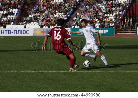 TOMSK, RUSSIA - SEPTEMBER 20: Football match Championship of Russia among Tom'(Tomsk) - Rubin (Kazan), September 20, 2009 in Tomsk, Russia. - stock photo