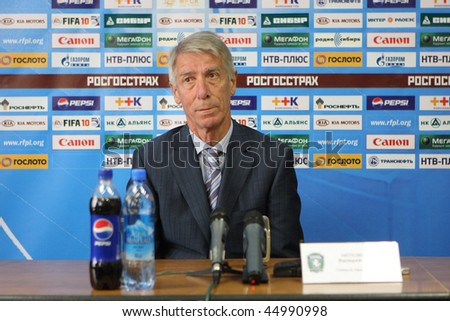 TOMSK, RUSSIA - SEPTEMBER 20: Valery Nepomnyashchiy - head coach of FC Tom (Tomsk), at a press conference after the match Tom'(Tomsk) - Rubin (Kazan), September 20, 2009 in Tomsk, Russia. - stock photo