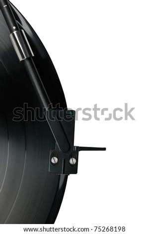 Tonearm on vinyl LP and black green dot pickup headshell, isolated hi-fi record player tone arm macro closeup - stock photo
