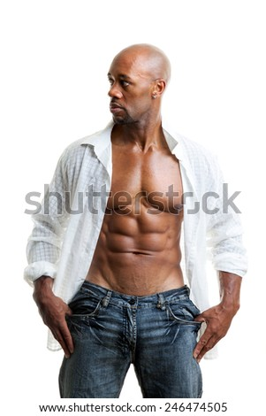 Toned and ripped lean muscle fitness man wearing an open shirt isolated over a white background. - stock photo