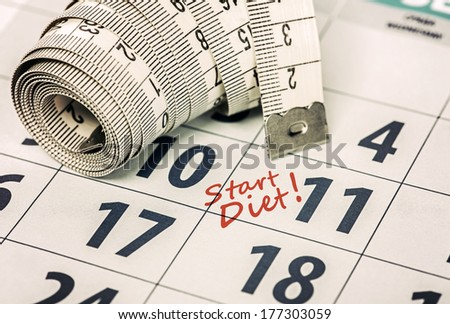 Toned and selective focus image. Close-up of Measuring Tape on calendar. - stock photo