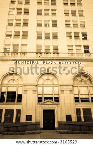Toned black-and-white image of San Antonio, TX City Hall building - stock photo