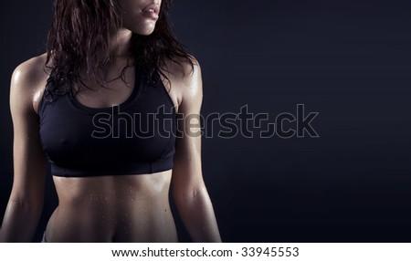 Toned female fitness body . - stock photo
