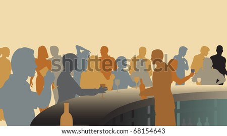 Toned illustrated silhouettes of people in a wine bar - stock photo