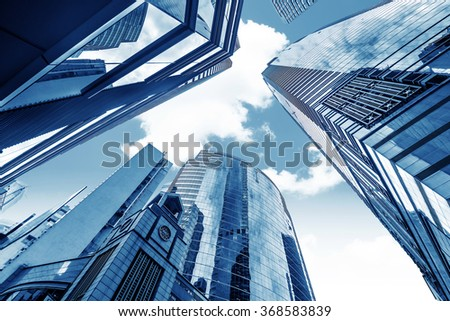 Toned image of modern office buildings in central Hong Kong.
