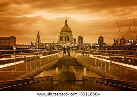 Toned night image of  St. Paul's Cathedral. - stock photo