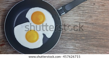 Toned photo. Eggs. Fried egg in a frying pan. Top view, closeup.