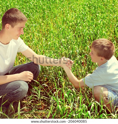 Toned photo of Happy Brothers shake hands at the Summer Field - stock photo