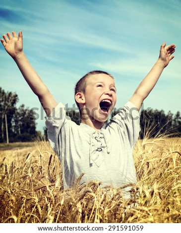 Toned Photo of Happy Kid in the Wheat Field - stock photo