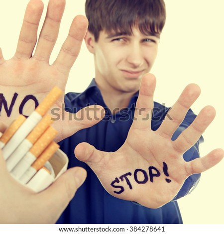 Toned Photo of Teenager refuses a Cigarettes - stock photo