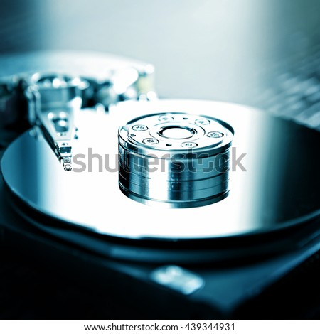 Toned Photo of the Opened Hard Disk Drive