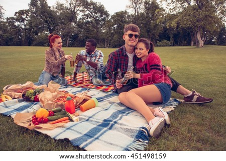 Toned Picture Best Friends Two Couples Stock Photo