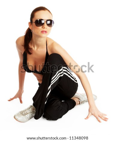 Toned sexy fitness  instactor - stock photo