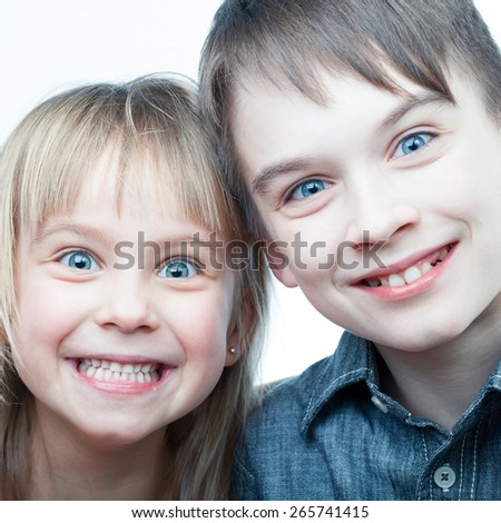 Toned shot of half-siblings making selfie - stock photo