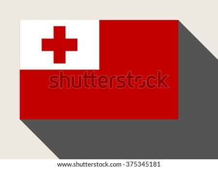 Tonga flag in flat web design style. - stock photo