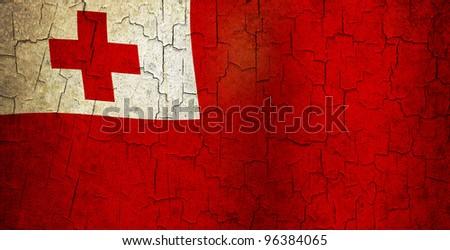 Tonga flag on a cracked grunge background - stock photo