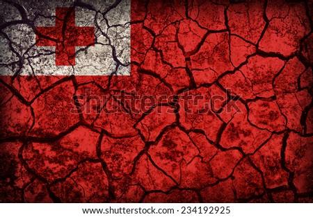 Tonga flag pattern on the crack soil texture ,retro vintage style - stock photo