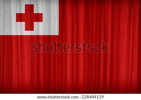 Tonga flag pattern on the fabric curtain,vintage style - stock photo