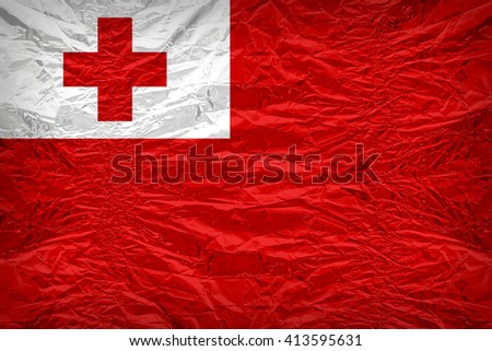 Tonga flag pattern overlay on floyd of candy shell, vintage border style - stock photo