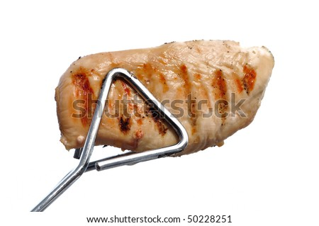 Tongs Holding a Grilled Chicken Breast Isolated on White - stock photo
