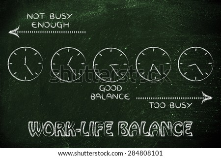 too busy and not enough, schedule for a good work-life balance - stock photo