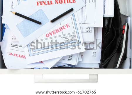Too Many Bills Not Enough Money - stock photo