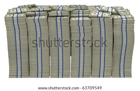 Too Much money. Huge pile of US dollars isolated - stock photo