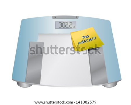 too much sign on a weight scale. illustration design over white - stock photo