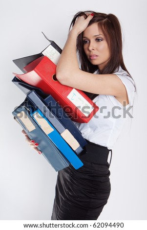 Too much work. A stressed businesswoman has a headcahe. - stock photo