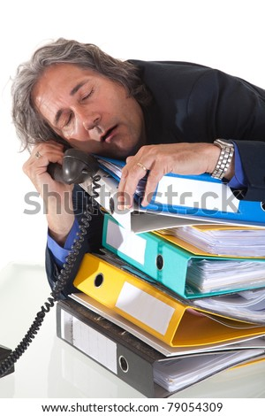 Too mutch work to do. Time for a small nap - stock photo