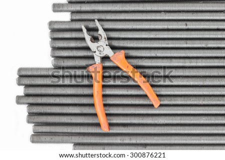 Tool and bolts components of steel construction for industry. - stock photo