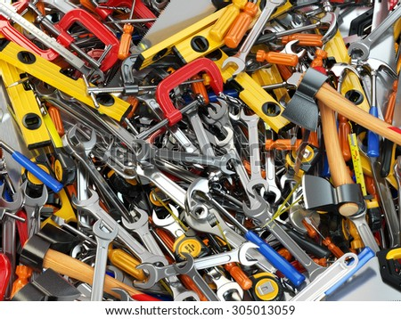 Tool background. Heap of different tools. Workshop. 3d - stock photo