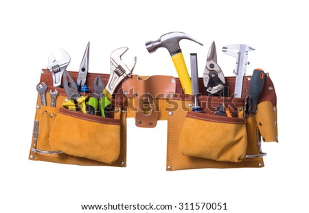 Tool belt with tools isolated on white background - stock photo