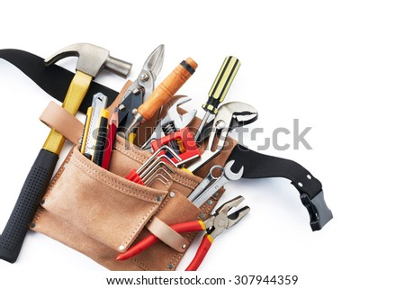 tool belt with tools on white background from top view - stock photo