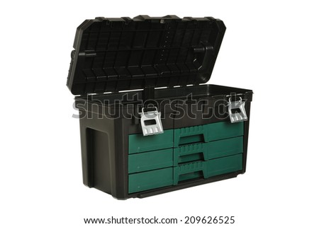 Tool box on white background