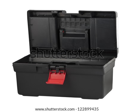 Tool box with open lid isolated on white background - stock photo