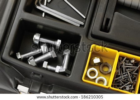 Tool box with tools close-up