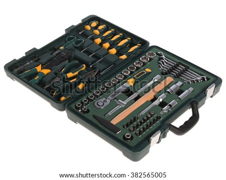tool box work in isolated - stock photo
