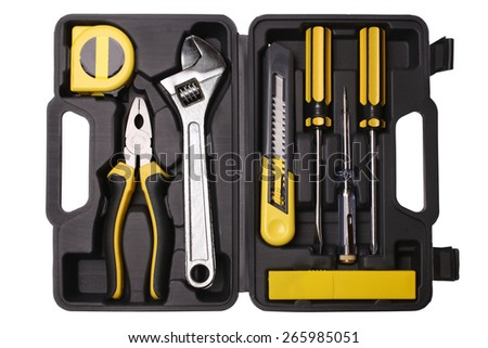 Tool case with tools isolated on white background - stock photo